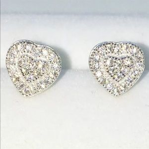 New White Gold on 925 Solid Silver Heart Earring